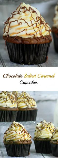 Chocolate Salted Caramel Cupcakes Chocolate and salted caramel go together so well, they are the perfect pair. The taste of Chocolate Salted Caramel Cupcakes is like heaven in every bite. Gourmet Cupcakes, Yummy Cupcakes, Easter Cupcakes, Flower Cupcakes, Christmas Cupcakes, Just Desserts, Delicious Desserts, Dessert Recipes, Mini Cakes