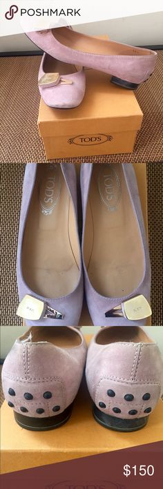 TOD'S pink suede shoes with gold hardware Super cute flat 8 1/2 TOD'S shoes with a few scuffs shown. This is a classic shoe rAre find with distinct hardware. Don't miss out Tod's Shoes Flats & Loafers