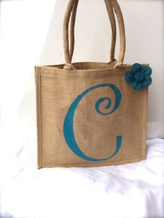 Burlap Beach Tote Bag with Turquoise Blue Initial & Burlap Flower
