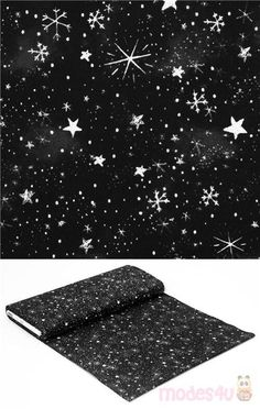 """black cotton fabric with small white stars and snowflakes design, Material: 100% cotton, Fabric Type: smooth cotton fabric, Pattern Repeat: ca.30cm(11.8"""") #Cotton #Stars #OuterSpace #Christmas #USAFabrics Kawaii, Timeless Treasures Fabric, Snowflake Designs, Christmas Fabric, Outer Space, Fabric Patterns, Black Cotton, Snowflakes, Stars"""