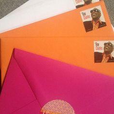 Happy colors for the mail today #effiespaper #letterlove #penpal #usps #uspsstamps #snailmail #snailmailrevolution #postalsevice #handwrittenletter @uspostalservice #mail #happymail #letters #handwrittenletters #raycharles #pink #orange