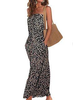 e50fd33b8a Phoenix Women Bohemian Backless Strapless Floral Print Maxi Dress Long Dress  -- Visit the image