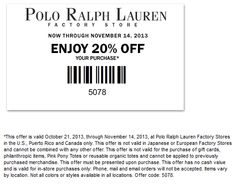 Pinned November 3rd: 20% off at Polo #Ralph Lauren Factory locations #coupon
