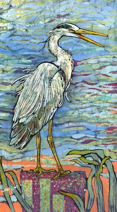 Hark the Heron - batik painting by Janet Sear Foss - batik--beautiful!