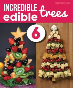 Edible Christmas Tree- 6 incredible edible christmas trees! Fruit trees, sandwich wrap trees, cheese platter trees, sugar cone trees, and more!