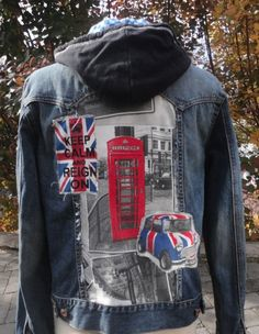 """""""Brits"""" jacket for Stubborn Jeans Fall collection. Keep an eye out for this fabulous piece on The Good Wife! Denim Vests, Fall Jeans, Novelty Fabric, Good Wife, Fall Collections, Jean Shorts, Hoodies, Jackets, British"""