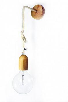 Kinkiet skandynawski lampy ścienne kolorowe kable w oplocie wełnianym