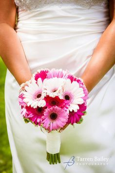 A Clean And Simple Handtied Wedding Bouquet Of Only Orted Shades Pink Gerbera Daisies