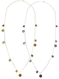 The Cara - Long Hammered Disc Necklace - Gold, Silver, Rose Gold – Misuzi