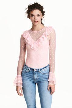 Blusa em mesh com folhos - Rosa claro - SENHORA | H&M PT 1