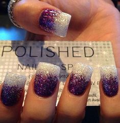 Ombré glitter nails with gel manicure purple and silver white. I love your nails sooooooooooooooooooooooooooooo much I love nails Get Nails, Fancy Nails, Love Nails, Pretty Nails, Cute Nail Art Designs, Beautiful Nail Designs, Pretty Designs, Awesome Designs, Solar Nail Designs