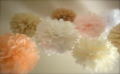 I like these colors!    SALE 15 Whimsical Tissue Paper PomPoms  by PrettywithSprinkles, $55.00