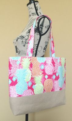 Bright and Summery Pineapples Linen And Canvas by LittleMissPoBean