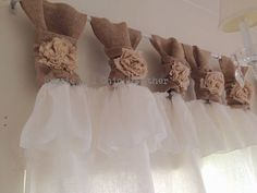 This White linen and burlap ruffles curtains - wide ruched tabs - Tea dyed rosette is just one of the custom, handmade pieces you'll find in our home décor shops. Ruffle Curtains, Tab Curtains, Burlap Curtains, Window Coverings, Window Treatments, Fabric Rosette, Curtain Length, Fru Fru, Chic Shop