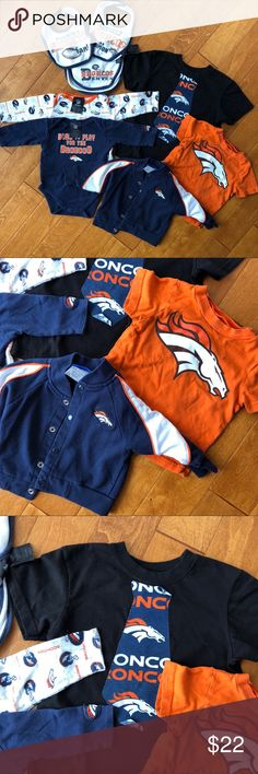 Baby boy NFL BRONCOS bundle, 8 items 2 bibs 1 burp cloth 2 longsleeve onesies 3-6 months (no visible flaws) 1 jacket (used once)  1 t-shirt (18 month) (gently used)  1 Black t-shirt (4T - iron on coming off) Some discoloration on bib / burp cloth not super noticeable NFL Jackets & Coats