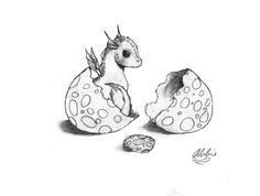 Dragon Drawings | Baby Dragon and Egg by ~Znnai on deviantART