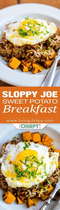 Sloppy Joe Sweet Potato Breakfast – a low-carb alternative. Seared Sweet Potato topped with Sloppy Joe and a soft fried egg. Sweet Potato Breakfast, Breakfast Potatoes, Low Carb Breakfast, Ground Meat Recipes, Low Carb Recipes, Beef Recipes, Yummy Recipes, Healthy Recipes, Brunch Recipes