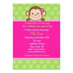 Monkey Baby Shower Invitations Girl