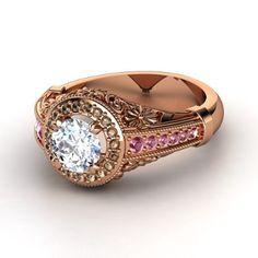 Round Diamond 14K Rose Gold Ring with Smoky Quartz