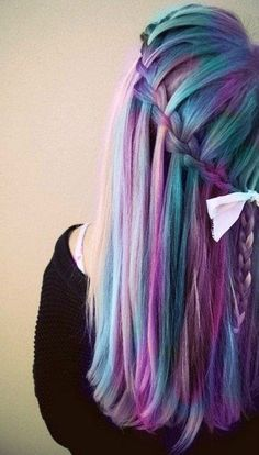 Waterfall braids look 10000x cooler dyed with Manic Panic - 30 Hot dyed hair Ideas  <3 <3