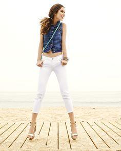 Denim Vest, Cross Body Bag, Rockstar Cropped Jeans #summer #oldnavy #jeans