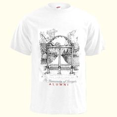 UGA Alumni Arch White Tee. Print of the Arch over script The University of Georgia over ALUMNI in red.