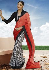 Ftrendy Orange & Black colored Georgette  Printed Saree
