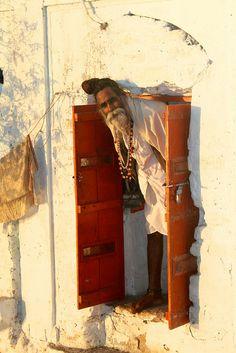 Curious sadhu