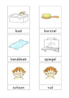 Woordkaarten Bas 'De badkamer' 1 Speech Language Therapy, Speech And Language, Dutch Phrases, Learn Dutch, Dutch Netherlands, Dutch Language, Ga In, Kids Learning, Paper Dolls