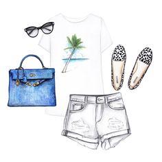 Printed T-shirt, shorts, blue bag, flats