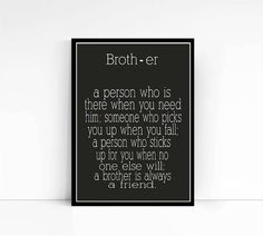 Wall Art  A brother is a person  Brother Quote  by mixarthouse
