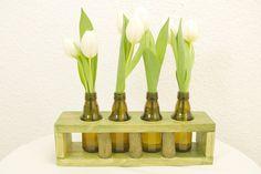 Vase im edlen Holzständer Blumenvase Vasen-Objekt von SchlueterKunstundDesign - Wohnzubehör, Unikate, Treibholzobjekte, Modeschmuck aus Treibholz auf DaWanda.com