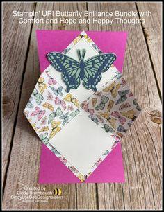 Stampin' UP! Butterfly Brilliance Bundle Inside Pop Up Fun Fold Video Tutorial   Cindy Lee Bee Designs Fun Fold Cards, Folded Cards, Bee Design, Butterfly Cards, Happy Thoughts, Pop Up, Stampin Up, Butterflies, Fancy