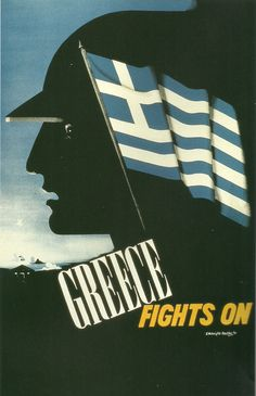 Greece Fights On - Propaganda Poster - Fine Art Giclée Print Old Posters, Travel Posters, Vintage Posters, Indianapolis Museum, Propaganda Art, Greek History, Greek Culture, Pub, Japan