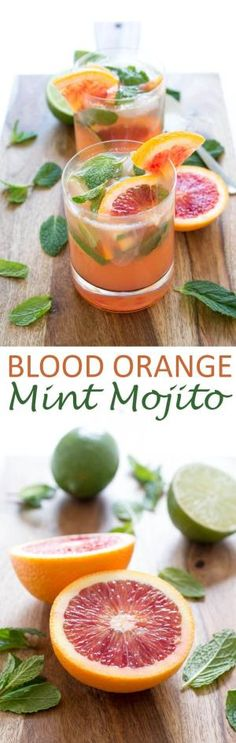 Blood Orange Mojito made with fresh mint, simple syrup, blood orange and lime juice by Gloria Garcia