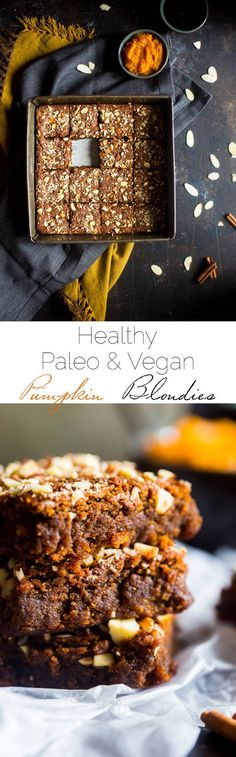 Vegan + Paleo Pumpkin Blondies - These one-bowl, pumpkin blondies are so dense…