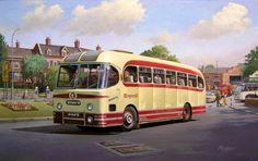 Summertime Paintings - Cotswold tour 1957 by Mike Jeffries Transport Pictures, Vintage Illustration Art, Bus Coach, London Bus, Commercial Vehicle, Classic Trucks, Old Trucks, Public Transport, Old Pictures