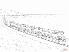 Freight Train Coloring Page Aksesoris