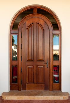 custom mahogany doors and high impact entrance doors ranging from french to carved church doors Custom Wood Doors, Wood Front Doors, Arched Doors, Arched Front Door, Windows And Doors, Wooden Glass Door, Wooden Main Door Design, Front Door Design, Wooden Doors