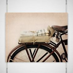 """Bike Bicycle Photography / newspaper vintage bicycle / brown rusted rusty taupe tan rustic bike urban / photograph print / """"Daily News"""""""