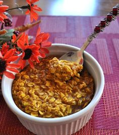Pumpkin Pie Baked Oatmeal. Must use certified gluten free oats if you have an allergy (almost all oats are contaminated with wheat). Very good recipe, and makes a single serving. I have also used applesauce in place of the pumpkin..and blueberries, raspberries, banana. Bake a few at one time in ramekins or a muffin and tin and you have a ready-to-go breakfast for the whole week.
