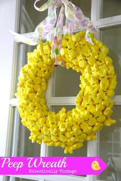 Make this cute Peep Wreath and see how to make it last for years! eclecticallyvintage.com