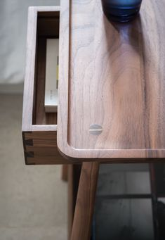 A bedside table with a floating dovetailed drawer and a lipped shelf below. May also be used as a side table. Wooden Furniture, Furniture Plans, Furniture Design, Bathroom Floor Cabinets, 3d Warehouse, Furniture Inspiration, Bedside, Decoration, Wooden Trays