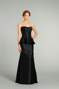 Mermaid One Shoulder Long Black Satin Peplum Bridesmaid Dress With ...