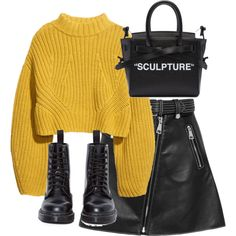 Yellow sweater with black skirt. Black ankle boots or suede booties. Shop this look. Design yours. Look Fashion, Teen Fashion, Korean Fashion, Winter Fashion, Fashion Outfits, Petite Fashion, Curvy Fashion, Kpop Outfits, Mode Outfits