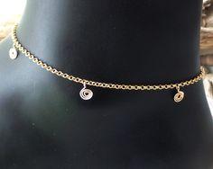Golden Infinity Birthstone Ankle Bracelet, Gold Filled Sterling Silver Gemstone Personalized Friendship Vegan Ankle Bracelet, Beach by WaterRhythmGems on Etsy