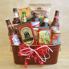 Valentine Gift Baskets for Men - Valentine Gift Baskets for Men--Just Perfect For the Man In Your Life.His Favorite Brew, Snacks, and, If You Want To Be Very Special, His Favorite DVD! Valentine Gift Baskets, Diy Valentines Day Gifts For Him, Holiday Gift Baskets, Valentines Diy, Valentine Flowers, Holiday Treats, Beer Basket, Man Basket, Gift Baskets For Him