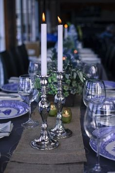 IGBY blue and white wedding table centrepiece and silver candle sticks, rustic flower boxes