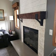 Home Remodeling Fireplace Fireplace Mantel Mantel Decor Rustic Mantel Farmhouse Brick Fireplace Makeover, Shiplap Fireplace, White Fireplace, Fireplace Remodel, Fireplace Mantle, Living Room With Fireplace, Fireplace Design, Fireplace Mounted Tv, Wall Mount Electric Fireplace