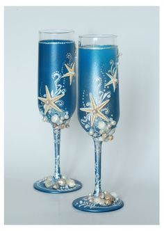 Blue Wedding Glasses